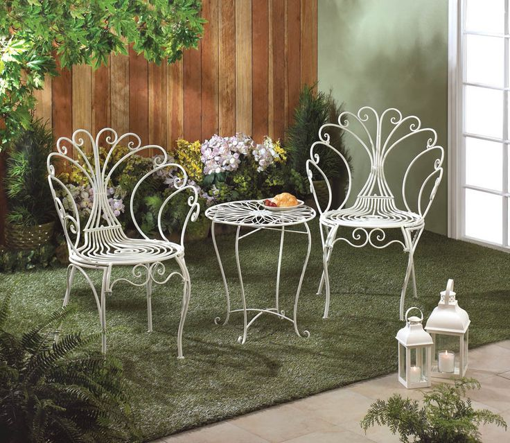 details about 3 piece peacock style bistro patio set white metal table u0026 2