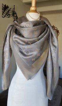 Louis Vuitton LOUIS VUITTON Shawl Scarf Grey Gold Monogram Shine Lurex Metal
