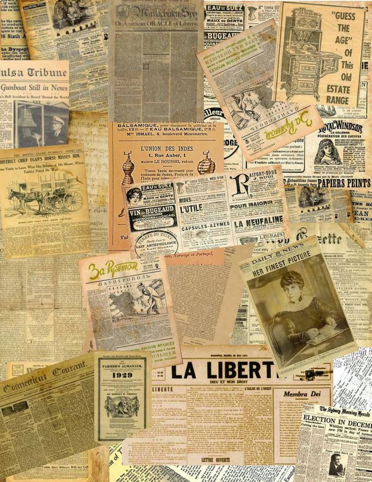 Digital collage of old newspaper pages in various langauges sized to print on A4 paper. Intended as a  resource for miniaturists. For personal use only, may not be offered for sale in printed or digital form.