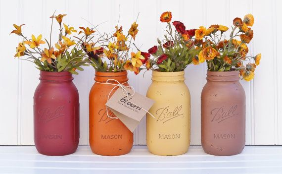 Shabby Chic Decor - MASON JAR CENTERPIECE - Shabby Chic Wedding, Country Wedding Decor, Rustic Home Decor - Mason Jar Vases: You Pick a Set! on Etsy, $16.00