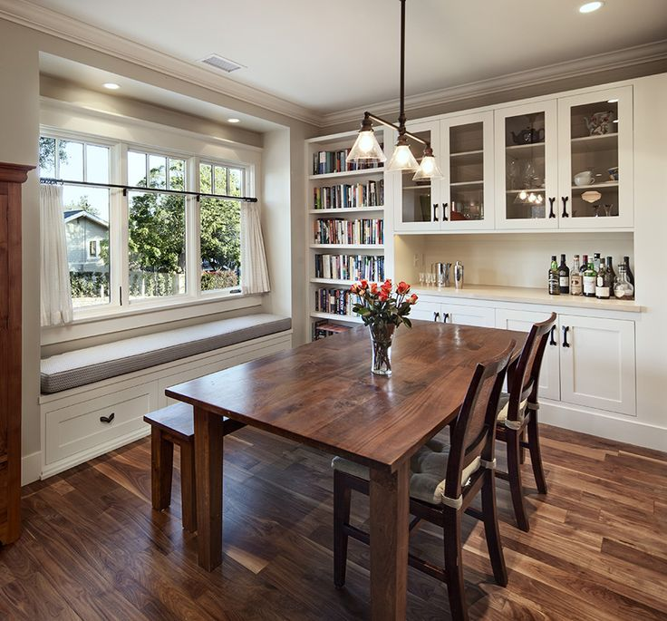 This dining room has a lot of what I want in it - love the space for cookbooks especially!