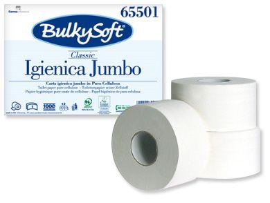 BulkySoft Premium papier toalet. maxi jumbo 300m.  Papier toaletowy w rolce Bulkysoft Mimi Jumbo. Jest to wyjątkowy produkt o powiększonej długości, która wynosi aż 300 m. Dostosowany do pomieszczeń o wysokim natężeniu ruchu. Długość papieru, jego wytrzymałość i wysoka jakość wykonania wpływają na rzadszą konieczność zmieniania rolki.