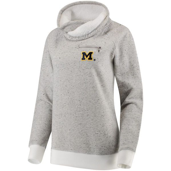 Women's Heathered Gray Michigan Wolverines Poodle Fleece Cowlneck Pullover