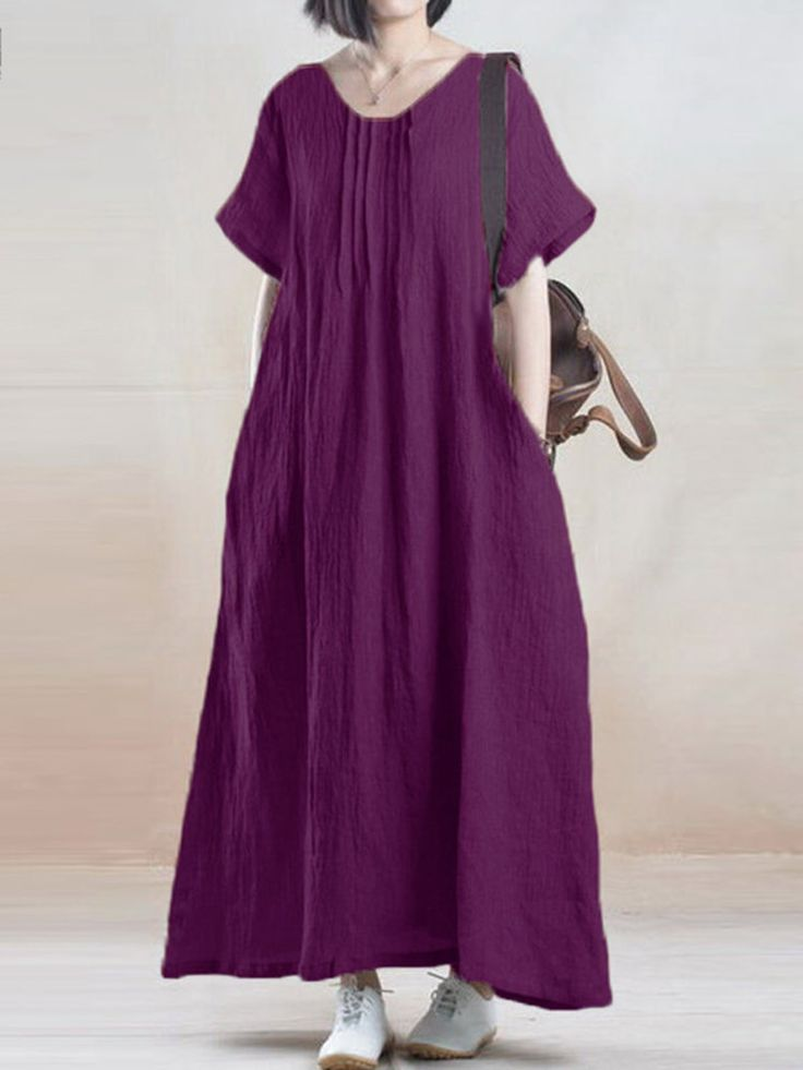 Women Solid O-Neck Ruffled Short Sleeve Maxi Dress - NewChic