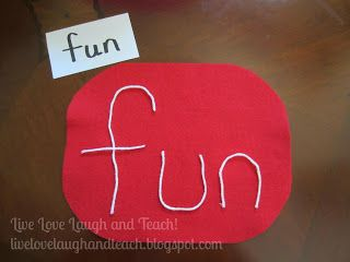 Live, Love, Laugh and Teach!: Use yarn to spell words