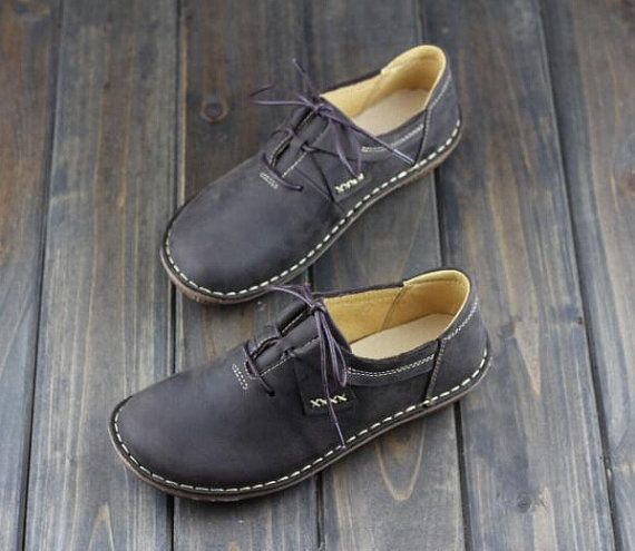 Handmade Shoes for Women Flat Shoes Retro Leather Shoes di HerHis
