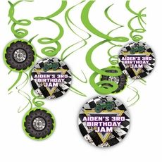 Monster Jam Grave Digger Monster Truck Party Hanging Spinners Decorations $19.50 for Pack of 12 Swirls