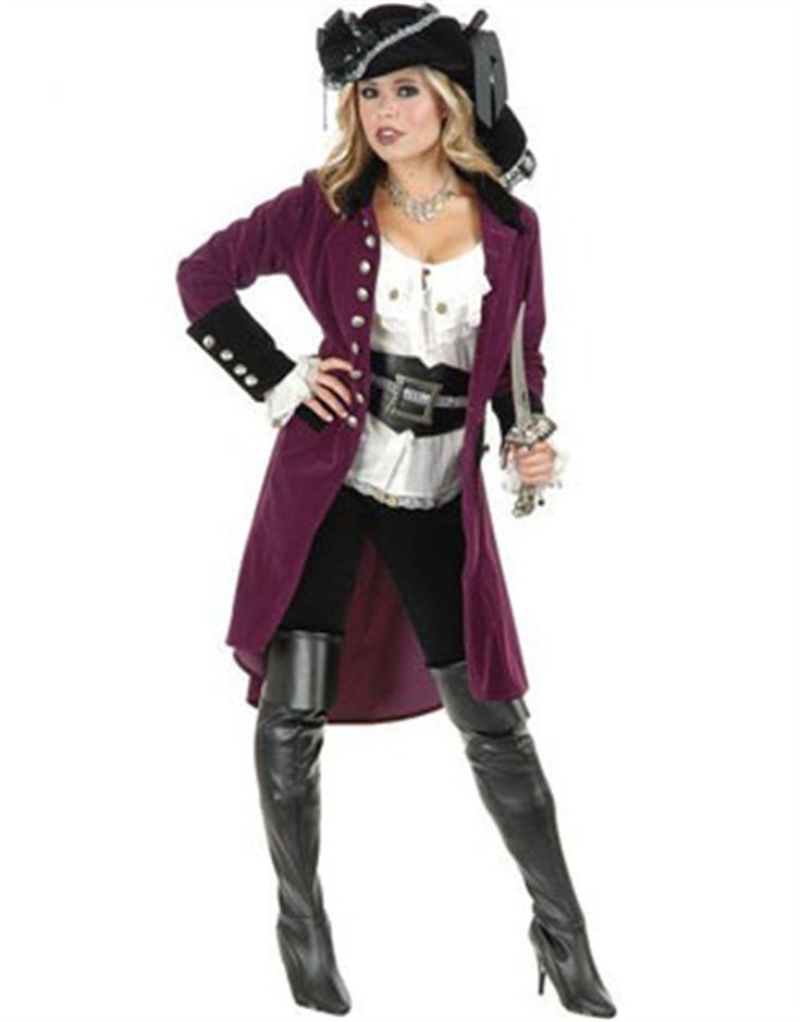 womens xl 14 16 plumberry and black pirate vixen costume long jacket coat