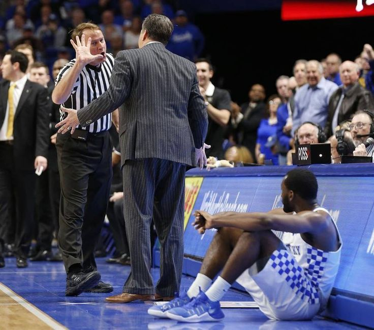 Referee John Higgins called a technical foul on Kentucky Coach John Calipari during the Cats' game against Vanderbilt.