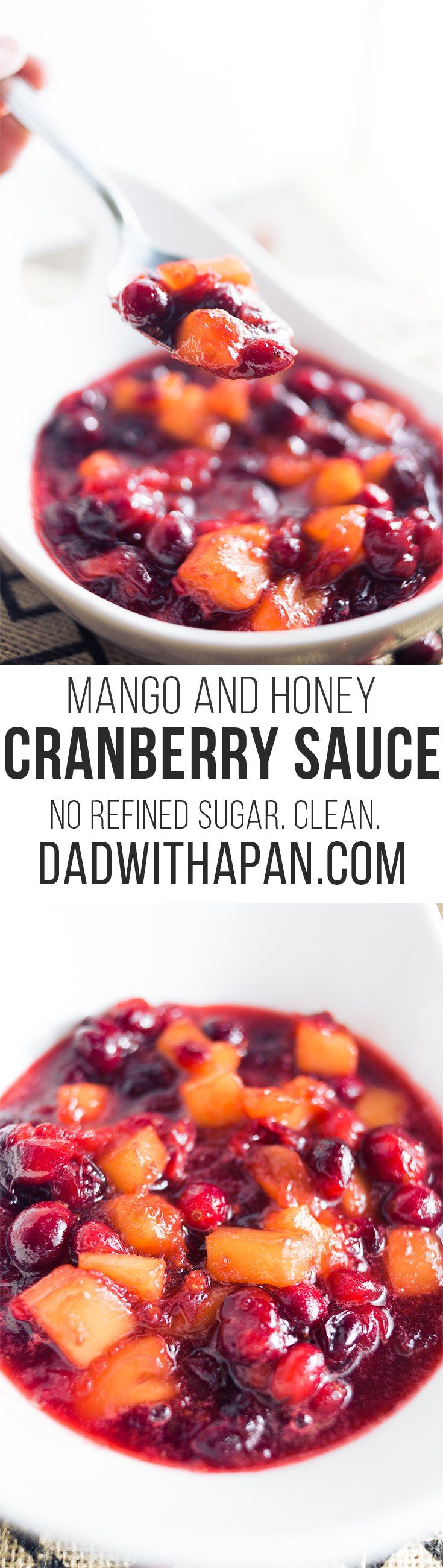 Cut down on refined sugars with this Whole Berry Cranberry Sauce With Honey and Mango!
