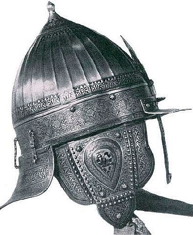 Chichak, a type of helmet (migfer) originally worn in the 15th-16th century by cavalry (sipahi) of the Ottoman Empire, consisting of a rounded bowl with ear flaps, a peak with a sliding nose guard passing through the peak, and an extension in the back to protect the neck. Various other countries used their own versions of the chichak including Mughal India, in Europe the zischagge helmet was a Germanisation of the original Turkish name.