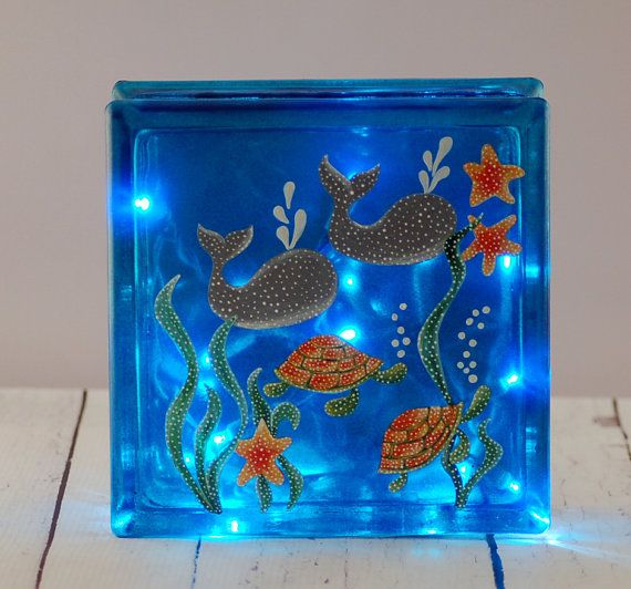 Lighted glass block hand painted with whales and turtles