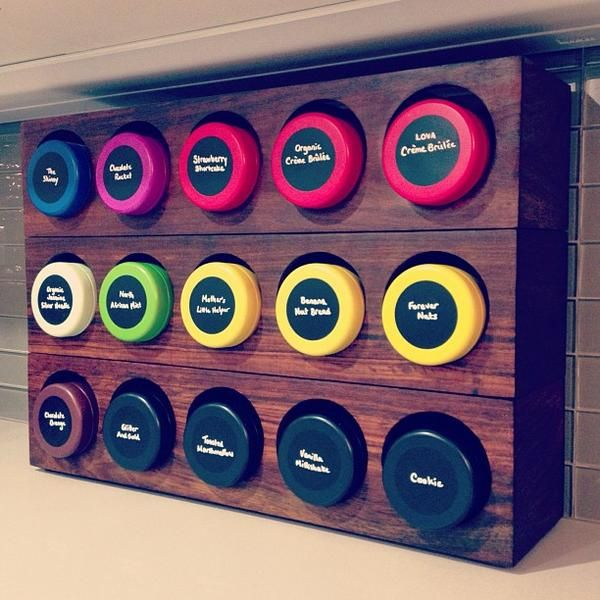 Amazing work Andrea. I love this. Slightly modified wine racks from #crateandbarrel, colored tins from #davidstea, chalkboard labels and marker from #etsy, tea collection, et voila