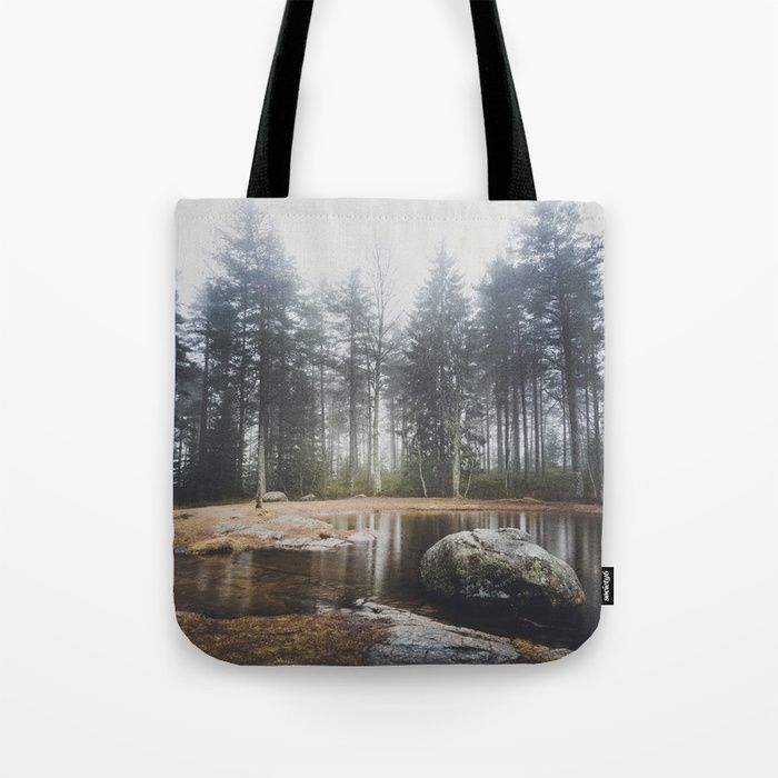 Moody mornings Tote Bag by HappyMelvin. #nature #wanderlust #landscape #forest #totebags