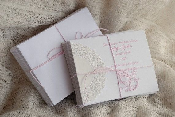 Custom Vintage Chic Doily Invitations - Wedding Save the Date - Baby or Bridal Shower  - Birthday, Engagement, or Tea Party - White on White on Etsy, $2.13 AUD