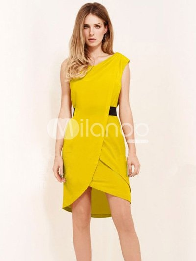 Beautiful Yellow Front Overlap Dress