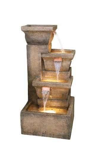 Bond Y98881 Ashboro 33 inch Zen Fountain -Mixing aged and brand-new, this remarkable layout couples an antiqued, stone-like finish with distinctively contemporary angles. Its square containers are staggered and stacked atop one another, with water moving inside out via shimmering, copper-colored spouts. Soft lights within each basin lend a soft glow to the water. http://beautifulwaterfountains.com/bond-y98881-ashboro-33-inch-zen-fountain/