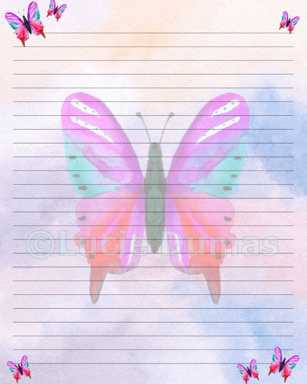 Digital Printable Journal writing lined Page Design 10 Butterfly pink blue Stationary 8x10 Download Scrapbooking Paper Template art L.Dumas by DigitalsbyLucie on Etsy