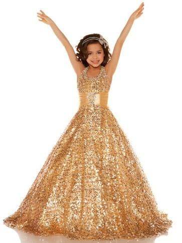 65b6bafb8 Gold Sequins Flower Girl Dresses Girls Pageant Gown ALD049 in 2019 ...