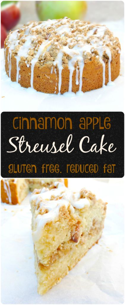 Cinnamon Apple Streusel Cake with a Greek Yoghurt Drizzle (Gluten Free). This gorgeous cake is gluten free and has less fat. It's filled with tart apples and has a Greek yoghurt drizzle. #cake #foodblogger #recipe #glutenfree