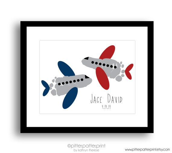 Travel Nursery Art, Airplane Baby Footprint Plane, Transportation Boys Room…