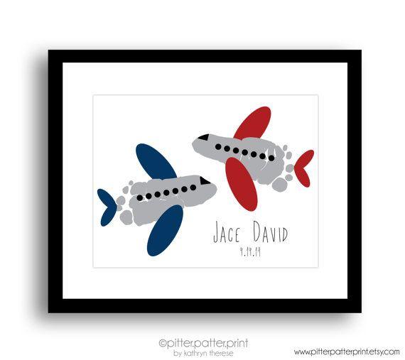 Travel Nursery Art Airplane Baby Footprint by PitterPatterPrint