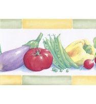 Green Yellow Eggplant Tomatoes Peas Wallpaper Border