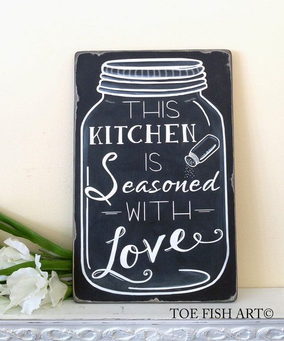 This Kitchen is Seasoned With Love Mason Jar Art  CHALKBOARD Typography Word Art Sign Hand Painted on Wood - READY to SHIP on Etsy
