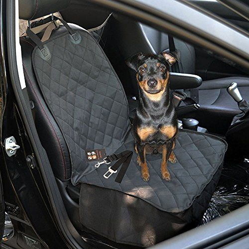 Dog Front Seat Cover,Geega Oxford Waterproof Pet Car Protection Single Seat Cover for Dog Non Slip with Dog Car Safety Belt 40*20 Inch (black, Front Seat Cover) *** Check this awesome product by going to the link at the image.