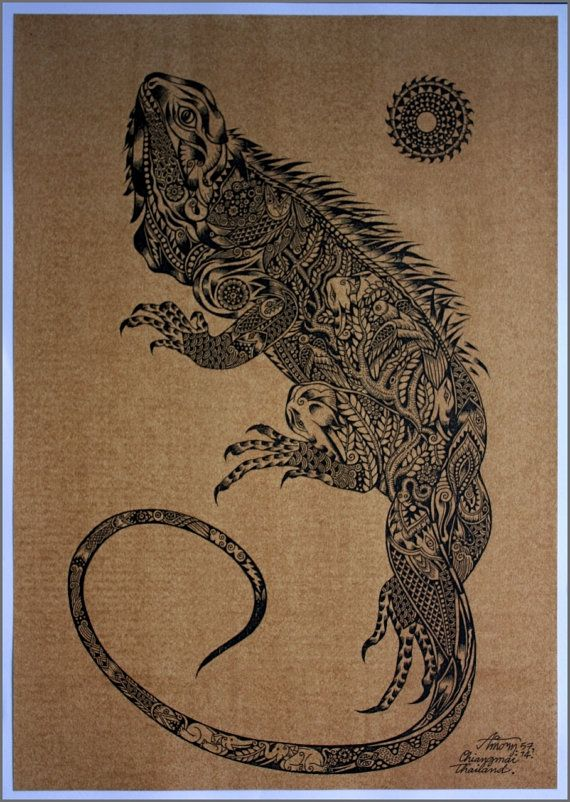 Thai traditional art of Iguana by silkscreen printing on sepia paper