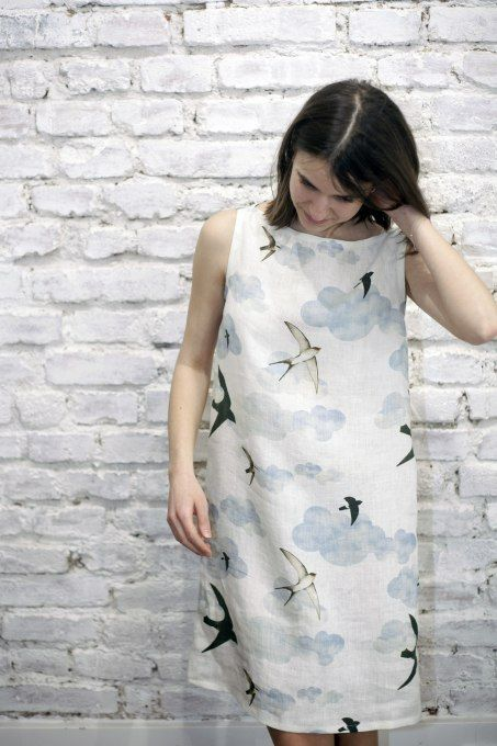 Swallows Shift summer dress by Jain&Kriz. Print and pattern. Cool and comfortable. 100% linen.