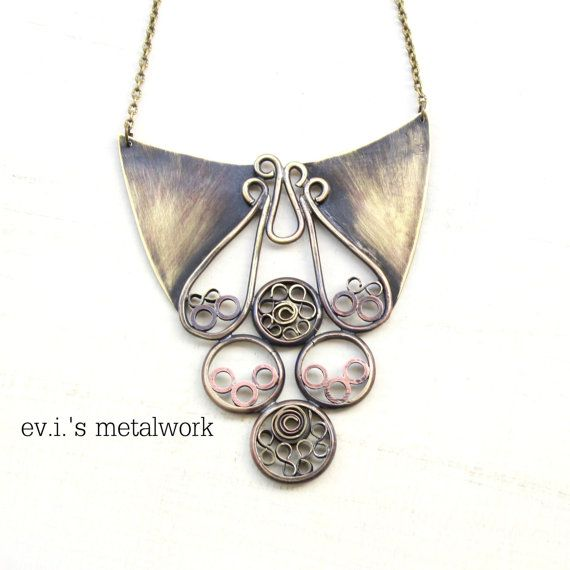 Paisley Rings Filigree Statement Short Necklace by evismetalwork