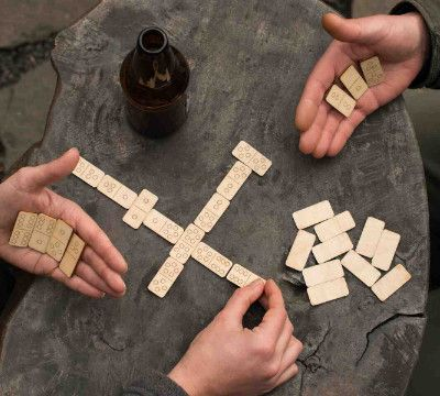 Travel Dominoes in Handcrafted Baltic Birch Box from Walnut