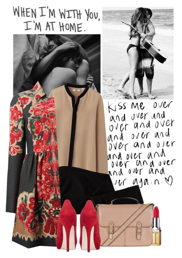 """""""Love"""" by forever-lovely ❤ liked on Polyvore featuring Elizabeth Arden, Uniqlo, Old Navy, Topshop, RED Valentino, Miss KG, red, prints and nude"""
