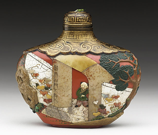 Snuff Bottle (Biyanhu) with Children at Play, China, late Qing dynasty, about 1800-1911, Red lacquer, with mother-of-pearl, malachite, coral, and soapstone overlay on wood core, with matching gilt and lacquer stopper