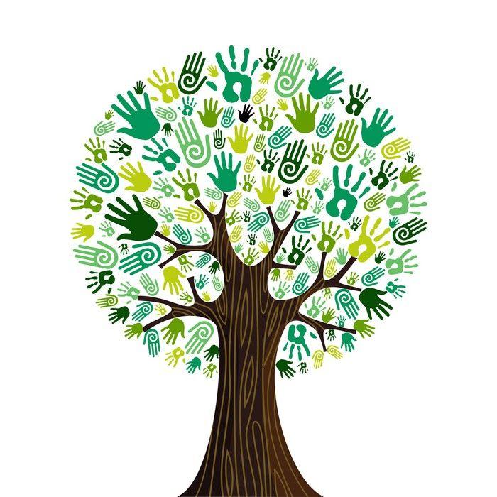 Go green hands collaborative tree wall mural pixers