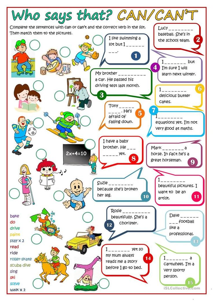 """Who Says That CAN CAN""""T Worksheet Free ESL"""