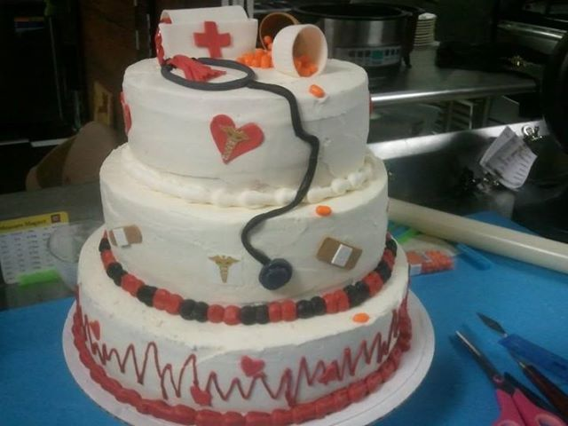 a nurse themed cake, it was really heavy.