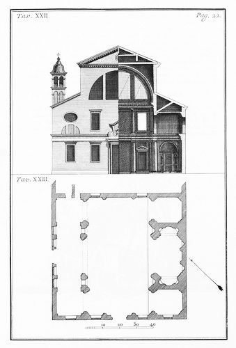 Andrea Palladio (attributed): the church of Santa Lucia, along the Grand Canal; apparently Palladio had produced some drawings for it in 1580, the year of his death, but construction took place circa thirty years later; it was demolished in 1861 to built the new rail-road station which is in fact named after it; elevation, section and plan by Francesco Muttoni's 'Architettura di Andrea Palladio vicentino', 1740-1760.