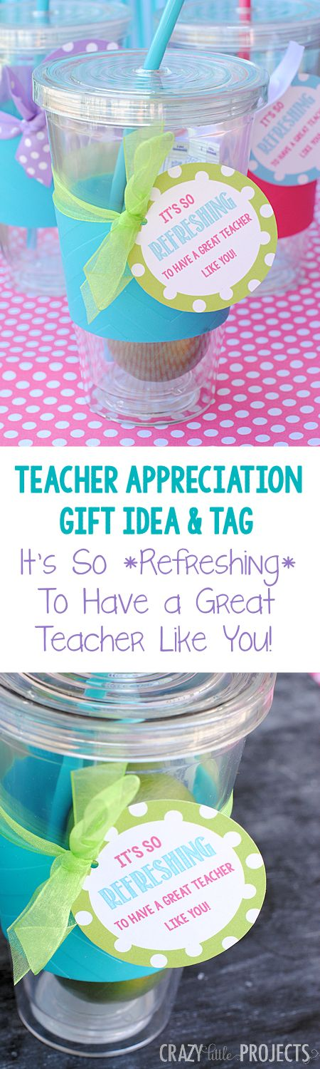 What a cute and easy idea for teacher appreciation! Cute cup with a free printable tag