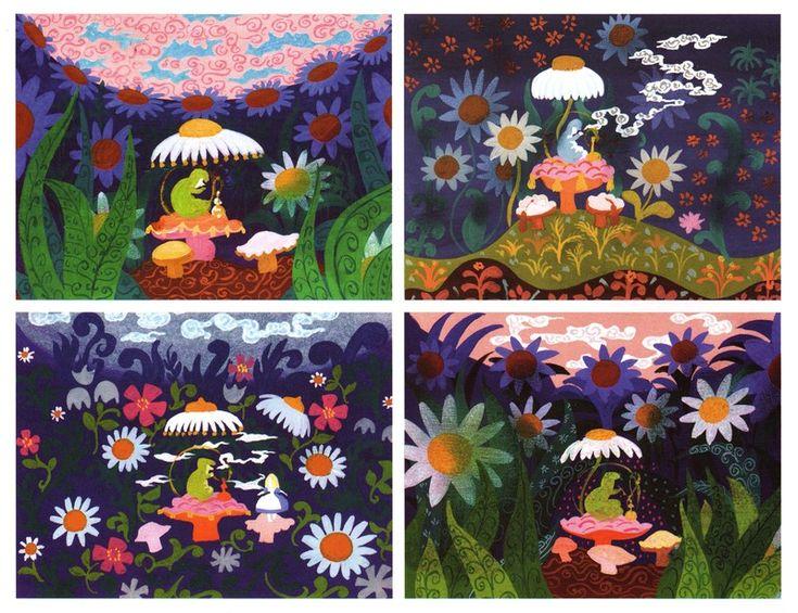 Mary Blair. Disney Animator. storyboard for Alice in Wonderland.                                                                                                                                                                                 Plus