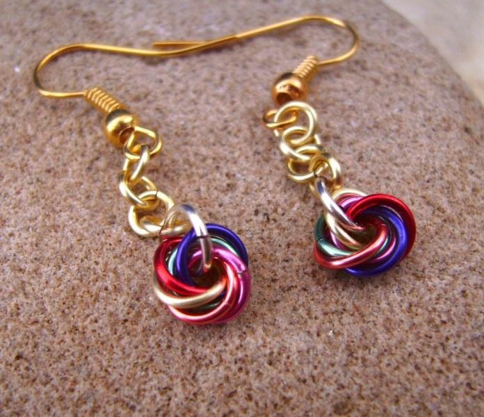 Multicolour Rainbow Chainmail Mobius Flower Earrings