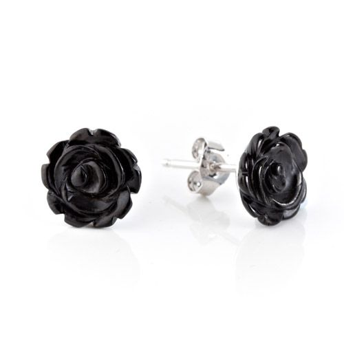 These beautiful rose earrings are hand carved in Genuine Whitby Jet.