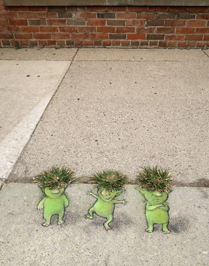 David Zinn #Streetart                                                                                                                                                                                 Plus
