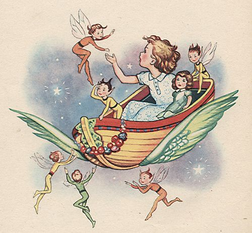 'Winged Boat and Fairies' from The ABC Book - (via moonflygirl, flickr) | 'A flutterbug in motion, I float and twist and turn, From river, dale and ocean, Wildflowers and the fern, Share my electricity, Sing with nature's chord, Treasure your felicity, And join the fairy horde...' ~Theo J. van Joolen, from 'The Whimsy Fairy'