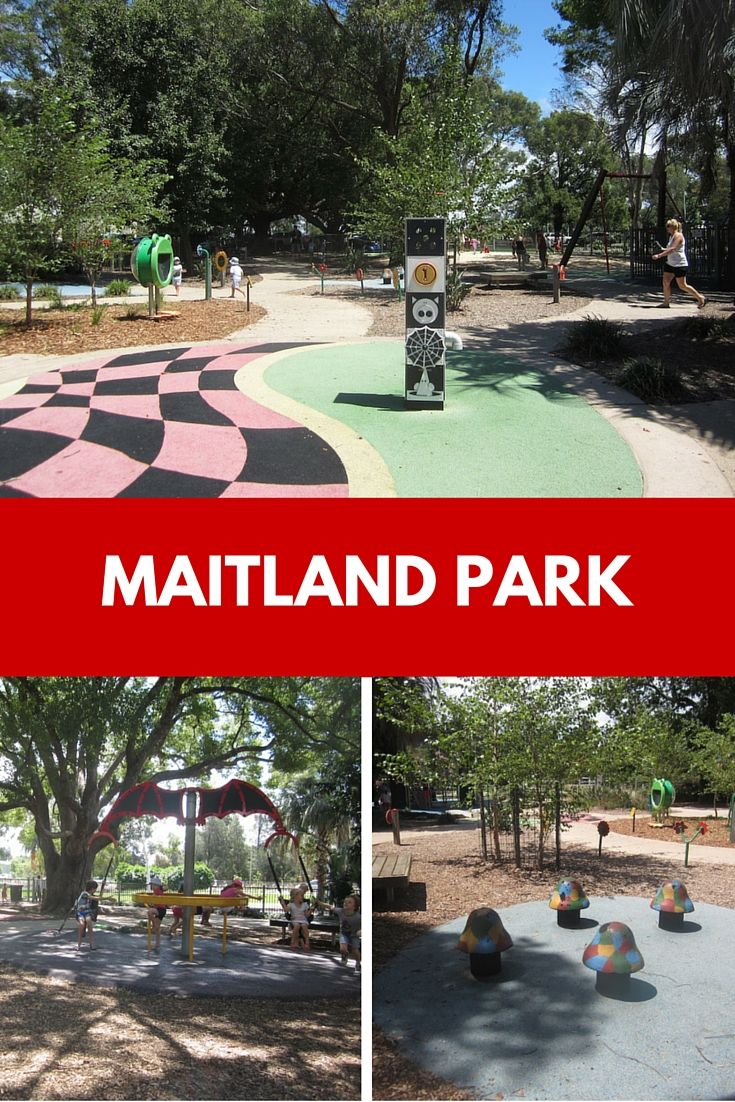 Visit Maitland Park Playground, a fenced all-abilities playground with equipment suited to a range of ages.
