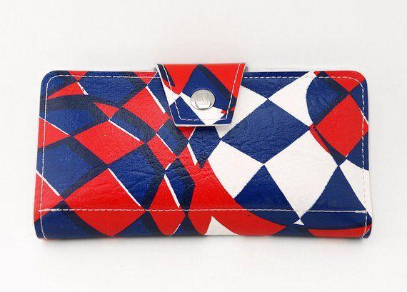 A Carteira Longa para Mulher Psicodélica Abstrata Mod – Vintage 60s Red Leather White & Blue Vegan