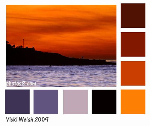 potential wedding colors? summer sunset: second red from top, orange, yellow, second purple from left, and leftmost purple/blue (indigo?)