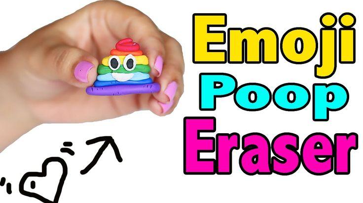 DIY Rainbow Poop Emoji Eraser - School Supplies