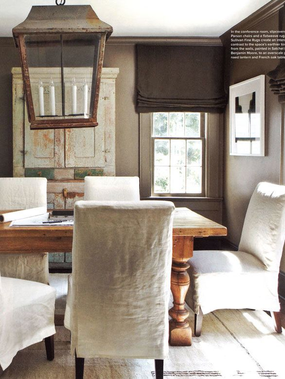 linen slipcovers and shades and lantern